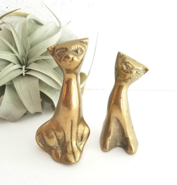 Vintage Set of 2 Brass Cats