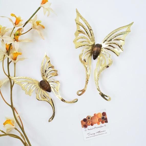 Vintage Set of 2  Brass Butterflies