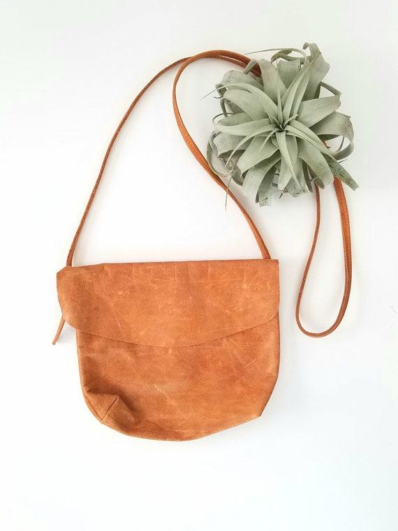 Vintage Worn Leather Small Crossbody Handbag