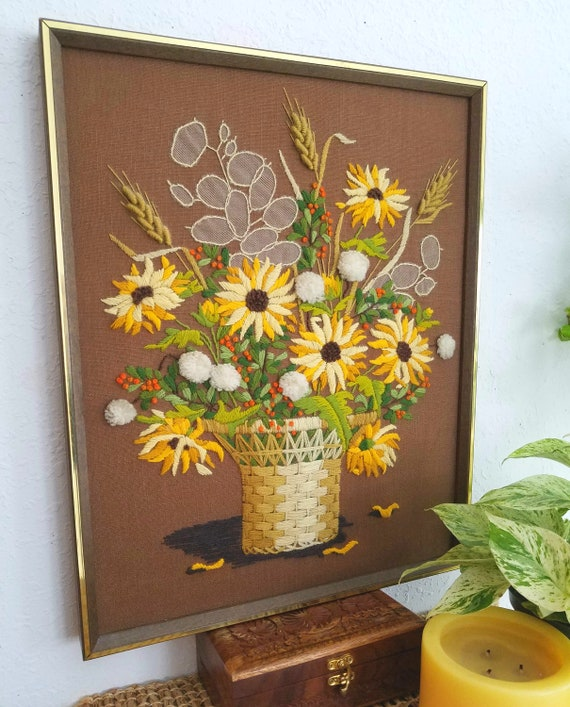 Beautiful Vintage Crewel Embroidered Floral Wall Art