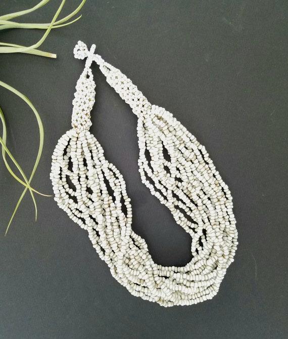 Vintage Multi Strand White Bead Necklace