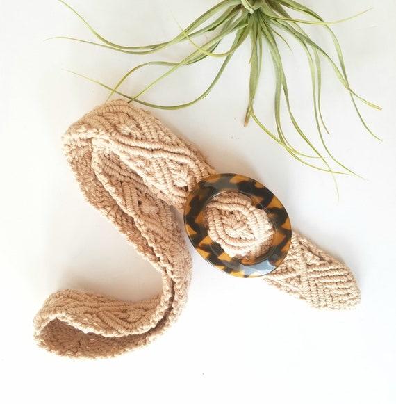 Cream Macrame Woven Belt