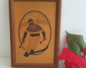 Vintage Wood Inlay Artwork 'The Skier' by Nelson