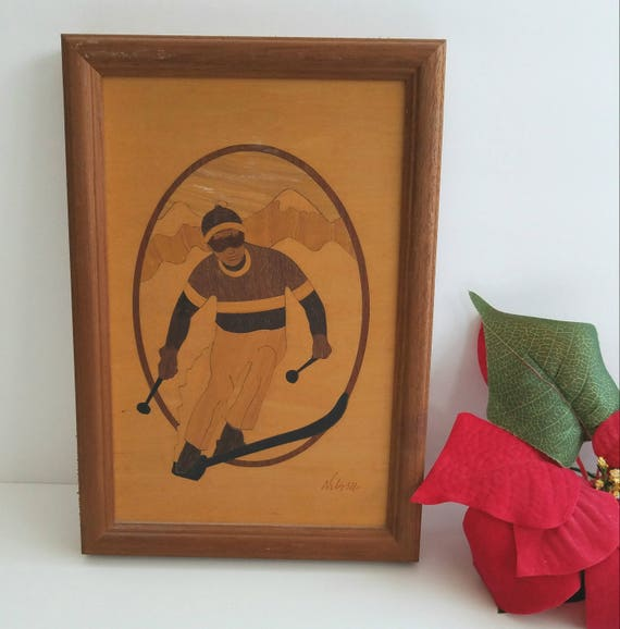 "Vintage Wood Inlay Artwork ""The Skier"" by Nelson"