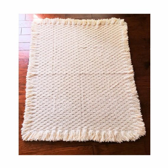 Extra Thick Chunky Beige Handmade Blanket with Fringe