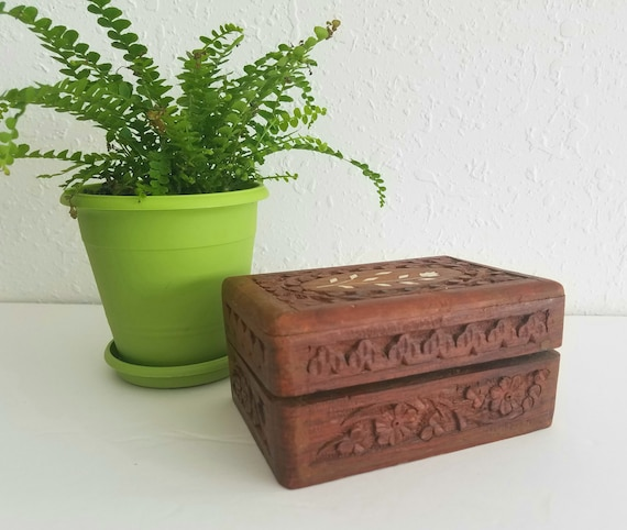 Vintage Small Hand Carved Trinket Box