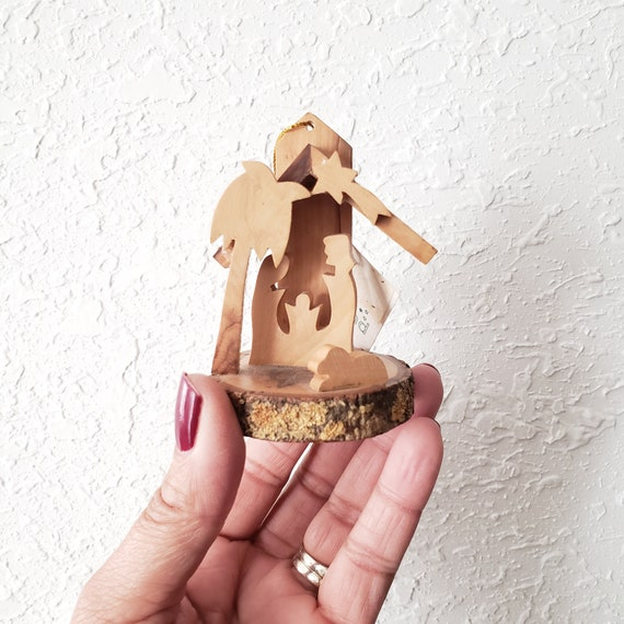 Vintage Small Olive Wood Nativity Ornament