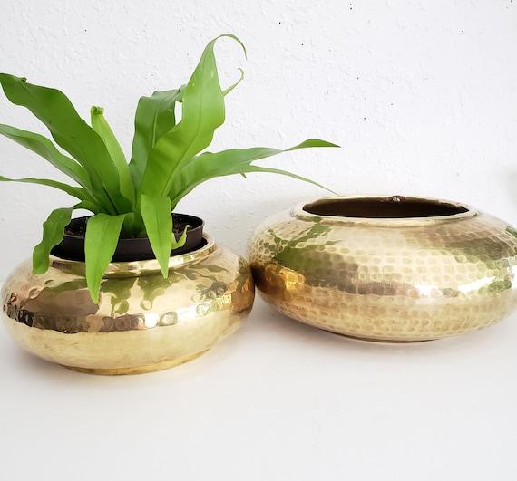 Vintage  Duo Brass Round Flat Hammered Planters