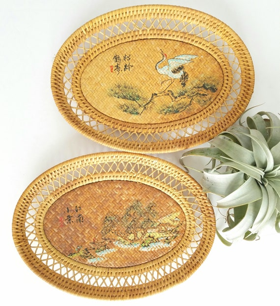 Vintage Flat Oval Asian Painted Baskets
