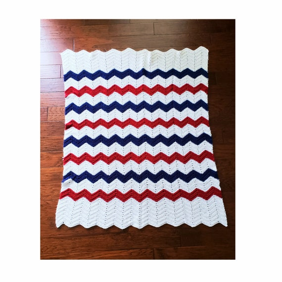 Red /White/ Blue Chevron Style Blanket