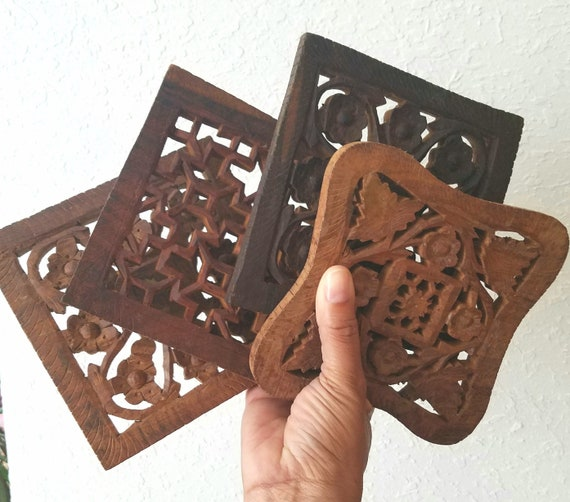Vintage Single  Wood Carved Trivets
