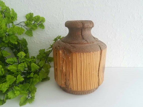 Vintage Handcarved Wood Vase