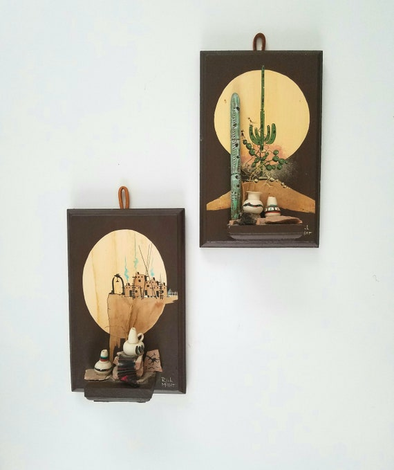 Unique Southwestern Cactus and Adobe House Wall Hangings