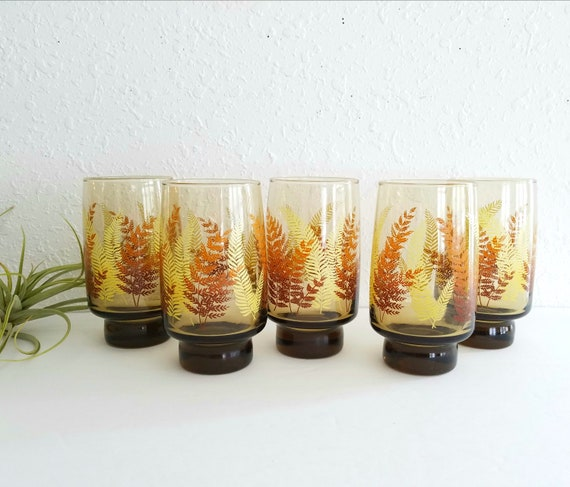 Vintage Set of 5 Libby Amber Highball Tumblers with Wheat Leaves