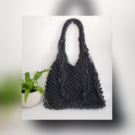 Unique Vintage Leather Knotted Tassel Market Bag