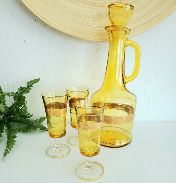 Vintage Gold Glass Decanter With Matching Glassware