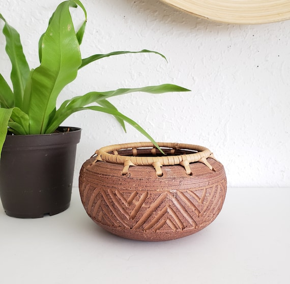 Brown Round Vintage Ceramic Plant Holder