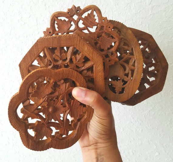 Vintage  Single Small Wood Trivets