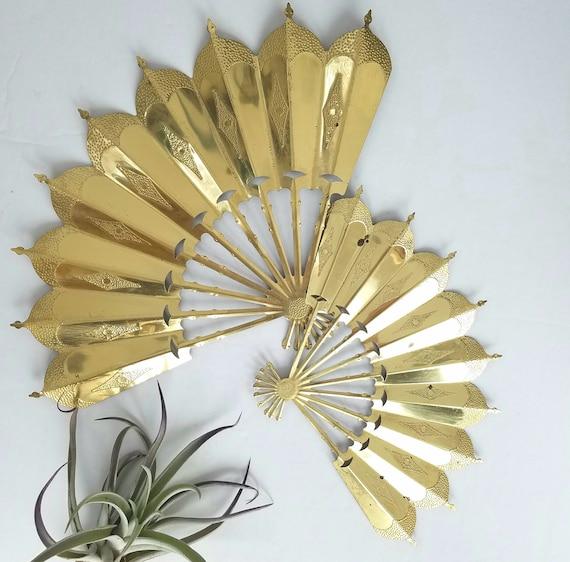 Set of 2 Vintage Asian Brass Fans
