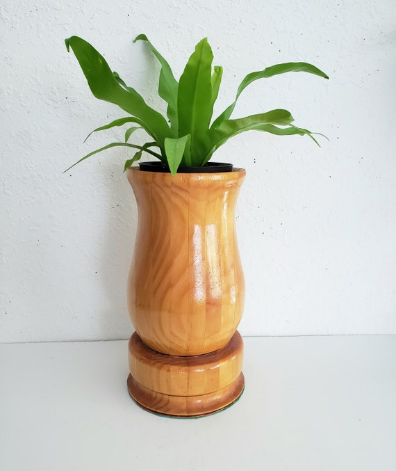 Handcarved Wood Planter