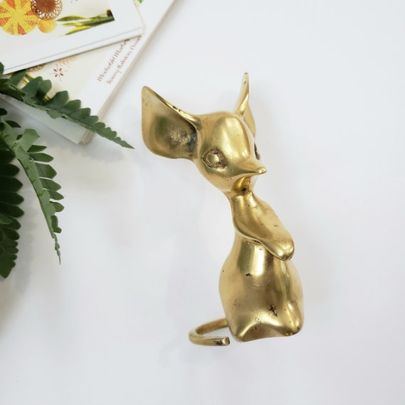 Vintage Brass Seated Mouse