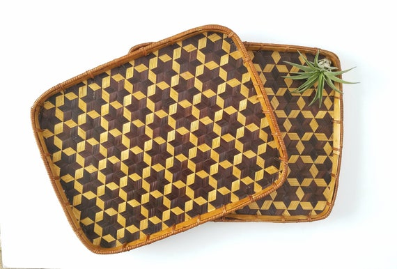 Set of 2 Vintage Wicker Trays
