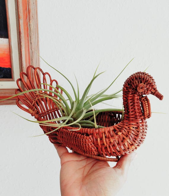 Brown Woven Wicker Rooster Plant Holder