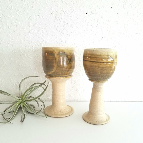 Tan Handmade Set of 2 Ceramic Goblets