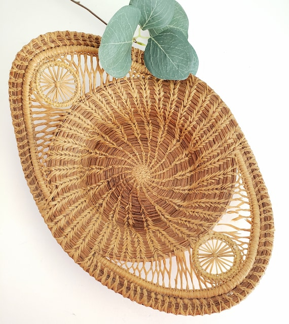 Vintage Curved Unique Woven Basket