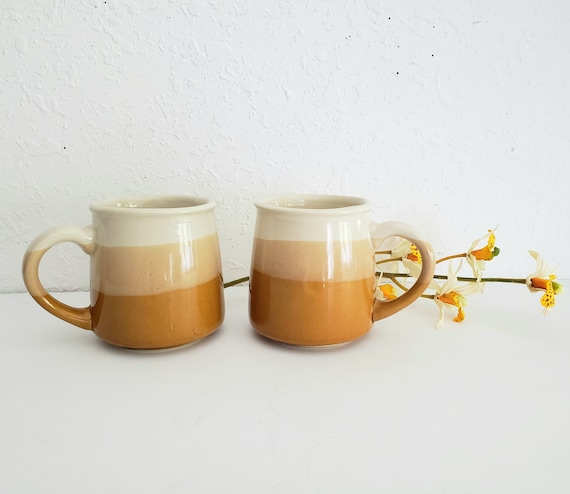 Retro Mustard Yellow Set of 2 Drip Mugs