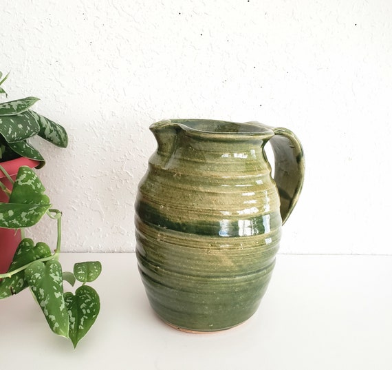 Vibrant Vintage Green Studio Ceramic Pitcher