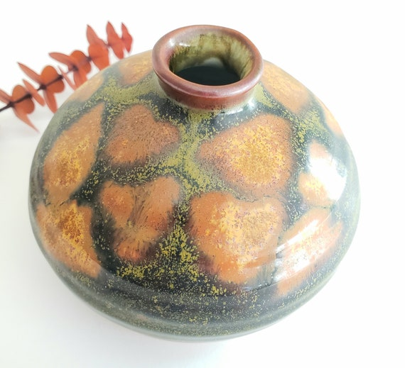Small Round Olive Green Bud Vase