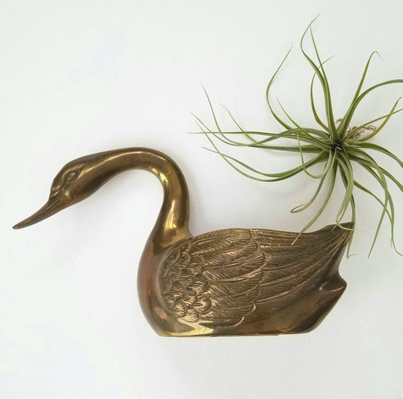 Vintage Large Brass Seated Swan
