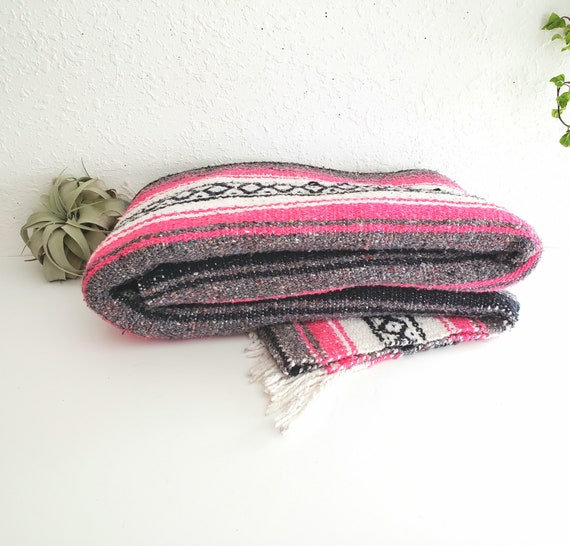 Vintage Mexican Pink/Grey/Black/White Blanket