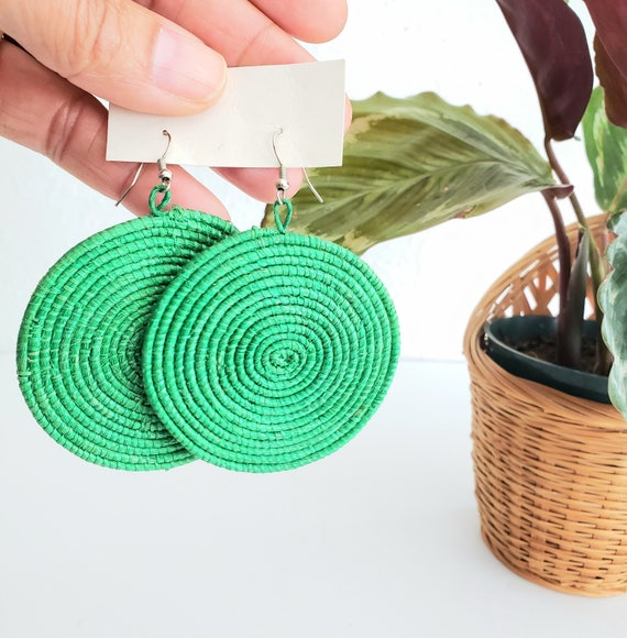 Green Straw Wicker Round Earrings