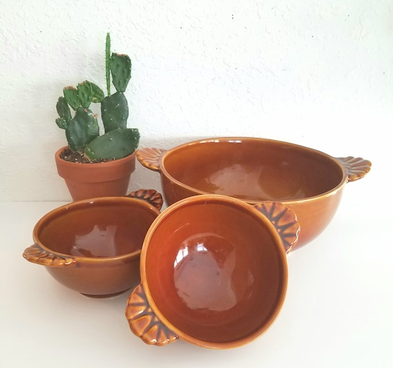 Solid Set of 3 Brown Glazed Ceramic Bowls
