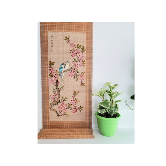 Vintage Extra Long Asian Bamboo Mat Wall Hanging