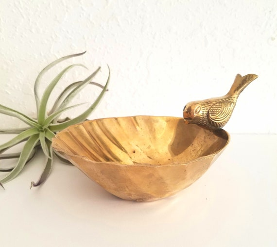 Vintage Brass Bird Bowl