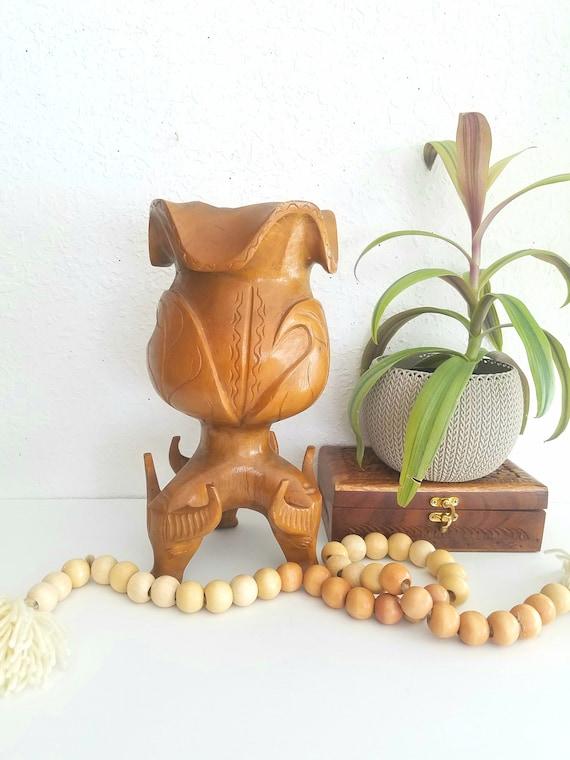 Vintage Wood Carved Rhino Plant Holder