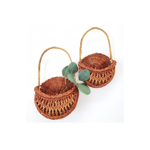 Set of 2 Wicker Basket Wall Holders