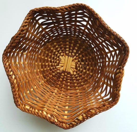 Vintage Flower Shaped Woven Basket