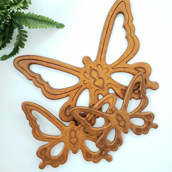 Vintage Set of 3 Wood Butterfly Wall Art
