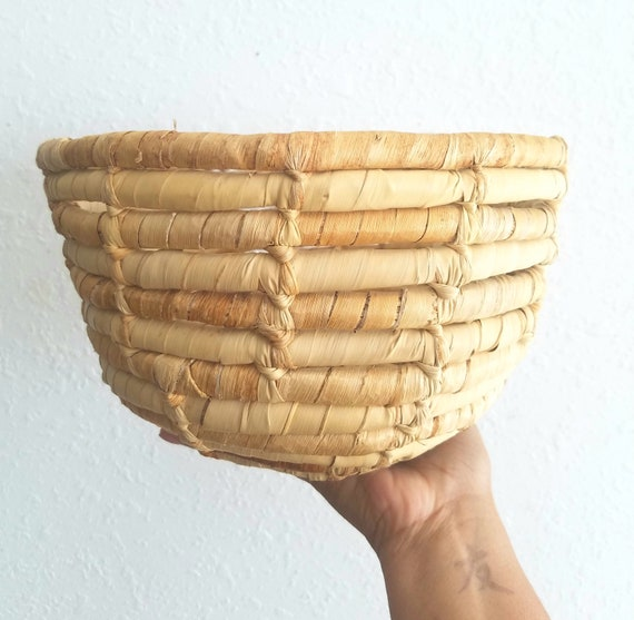 Vintage Wicker Coiled Straw Basket
