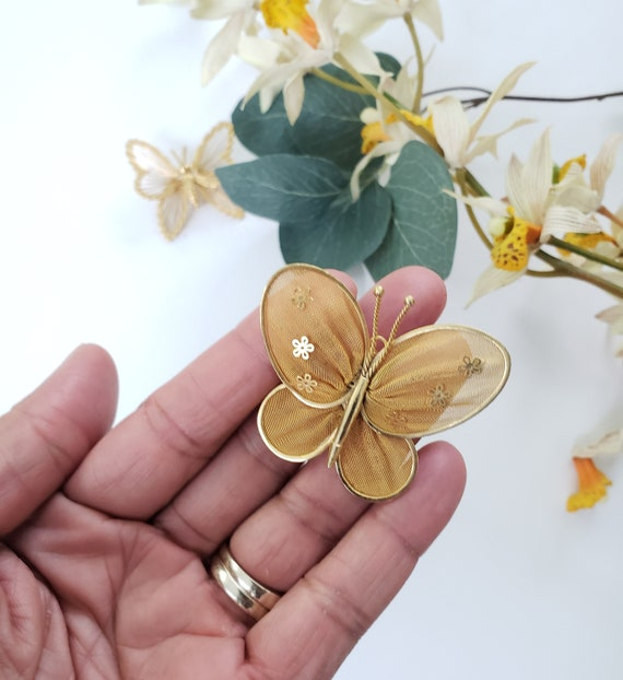 Vintage Golden Brooch with Mesh Wings