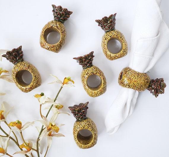 Beautiful Set of 6 Ceramic Pineapple Napkin Rings