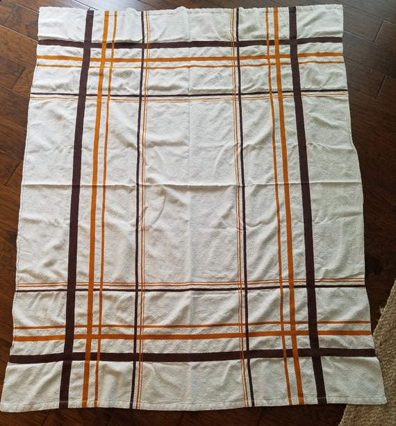 Vintage Cotton Cream Tablecloth with Orange and Brown Stripes