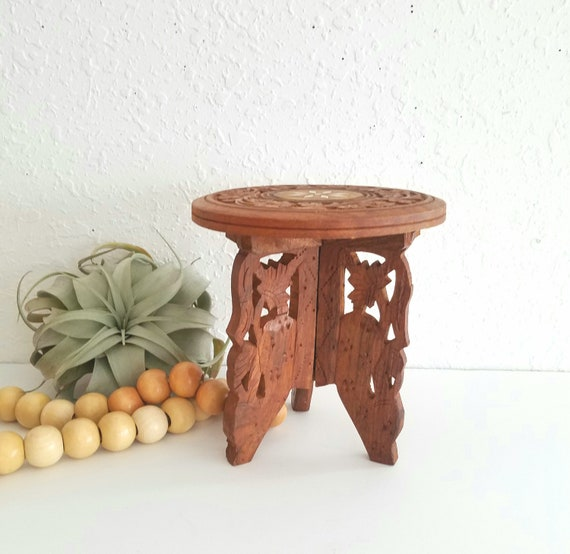 Small Vintage Wood Carved Plant Stand
