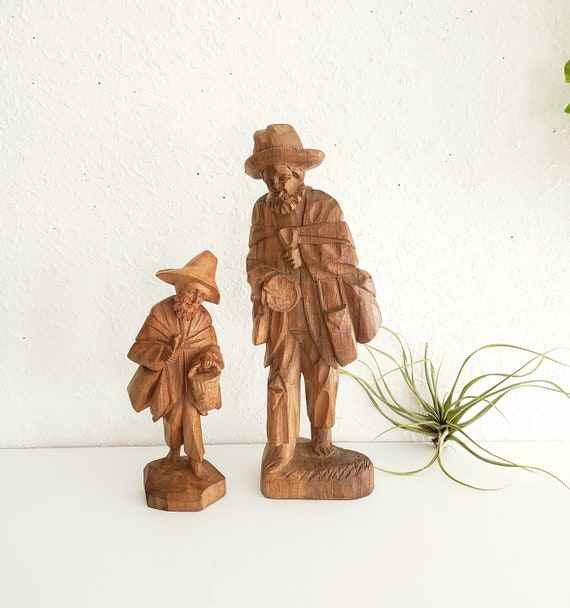 Set of 2 Vintage Wood Carved Old Men