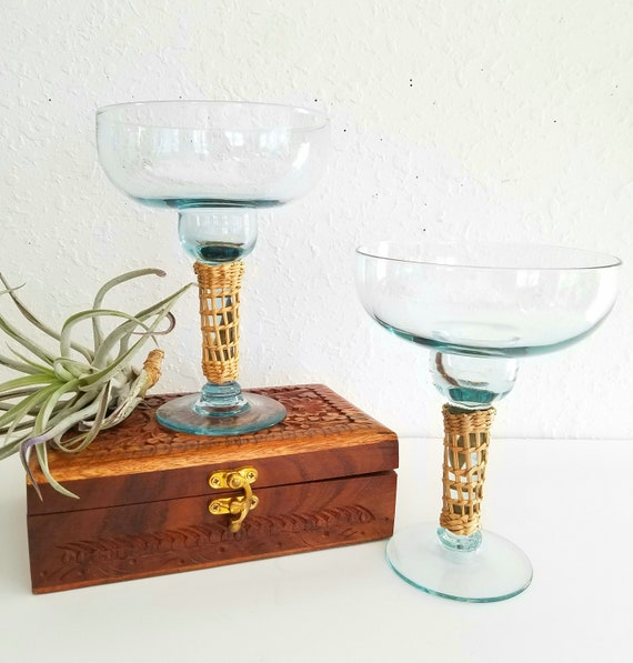 Vintage Set of 2 Margarita Glasses with Straw Wrapped Stems