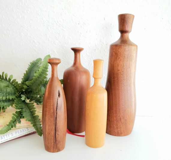 Unique Set of 5 Vintage Wood Tall Bud Vases